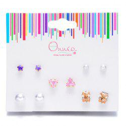 A Suit of Star Geometric Faux Pearl Earrings -