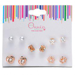 A Suit of Floral Rhinestone Faux Pearl Earrings -
