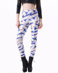 Fashionable High Waisted Slimming Yoga Pants For Women - BLUE AND WHITE
