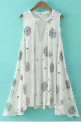 Stylish V-Neck Sleeveless Printed Asymmetrical Dress For Women -
