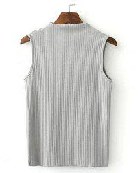 Simple Turtle Neck Sleeveless Pure Color Slimming T-Shirt For Women -