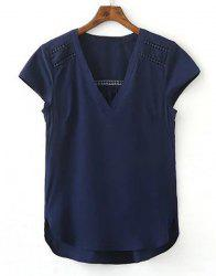 Simple V neck Cap Sleeve Pure Color Spliced Blouse For Women -