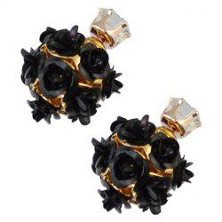 Pair of Faux Rose Double Ended Rhinestone Stud Earrings -