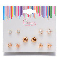 A Suit of Triangle Knot Faux Pearl Earrings -