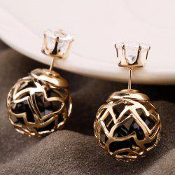 Pair of Hollow Out Double Ended Faux Zircon Stud Earrings