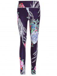 Sporty Floral Print Slimming Pants For Women - BLACK