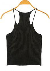 Sweet Spaghetti Strap Candy Color Knitted Tank Top For Women - BLACK
