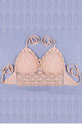 Stylish Halter Crochet Pure Color Women's Tube Top -