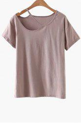 Casual Short Sleeve Cut-Out T-Shirt - PINK M