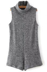 Fashion Turtleneck Sleeveless Gray Women's Romper -
