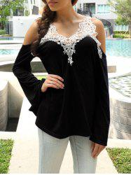 Cold Shoulder Lace Panel Color Block T-Shirt with Long Sleeve - BLACK
