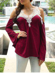 Cold Shoulder Lace Splicing Color Block T-Shirt - RED