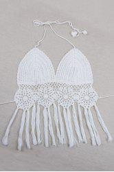 Halter Crochet Fringe Crop Top