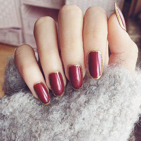 Stylish 24 PCS Glitter Powder Golden Edge Wine Red Nail Art False Nails от Rosegal.com INT