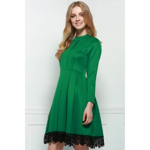 Stand Collar Long Sleeves Lacework Dress -