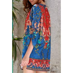 Stylish V Neck 3/4 Sleeve Vintage Print Women's Dress - Purplish Blue - M