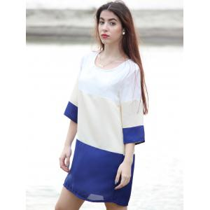 Casual Scoop Neck Color Block 3/4 Sleeve Dress For Women - PURPLISH BLUE M