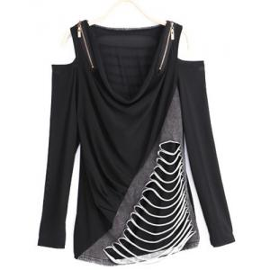 Women's Chic Long Sleeve Hollow Out Splice Blouse -