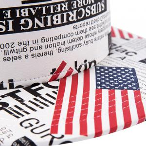 Stylish American Flag and Newspaper Pattern PU Baseball Cap For Men -