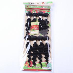 8Pcs/Lot Stylish Black 90 Percent Human Hair Blended Synthetic Fluffy Wave Women's Hair Extension - Black