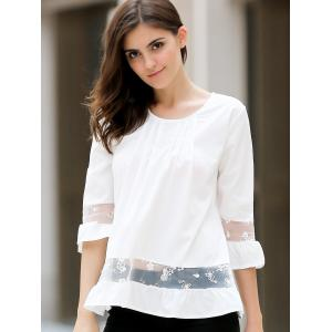 Chic Round Collar 3/4 Sleeve Lace Spliced Solid Color Women's Blouse -