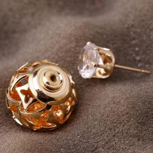 Pair of Stylish Double-End Faux Zircon Flowers Hollow Out Stud Earrings For Women -