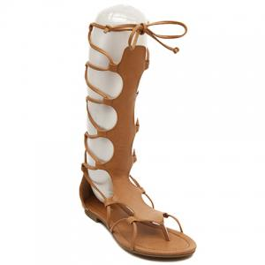 Flip Flop Design Gladiator Sandals That Lace Up Calf - Brown - 39