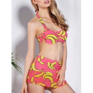 Women's Sexy Halter Print High Waist Two Piece Swimwear