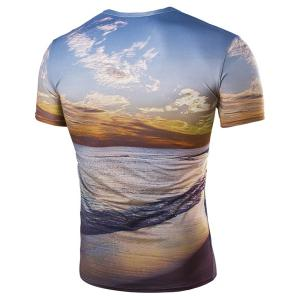 Hot Sale Round Neck 3D Sunset Coast Print Short Sleeves T-Shirt For Men -
