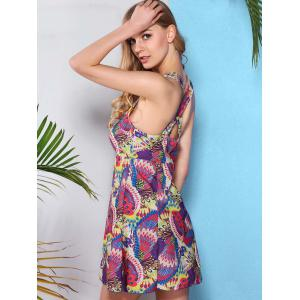 Fresh Style V Neck Cross-Back Printed One Piece Swimwear For Women -