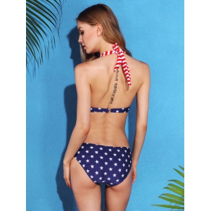 Women's Cut Out Star Striped One Piece Swimwear - COLORMIX S