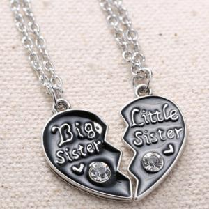 A Suit of Rhinestone Heart Sister Necklaces - SILVER