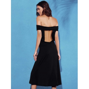 Trendy Off The Shoulder Solid Color Backless Women's Dress -