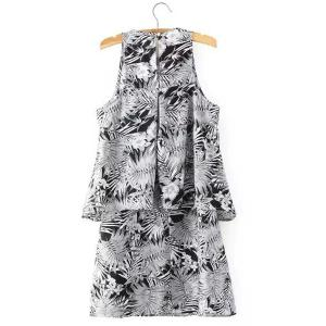 Chic Round Neck Sleeveless Printed A-Line Dress For Women -