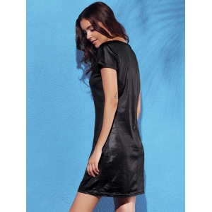 Fashionable Round Collar Short Sleeve Artificial Leather Pure Color Women's Dress -