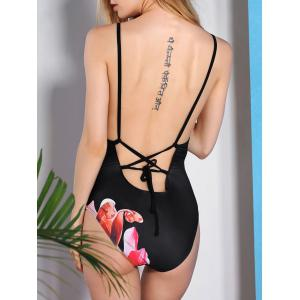 Vintage Flower Printed Back Criss-Cross One-Piece Swimwear For Women