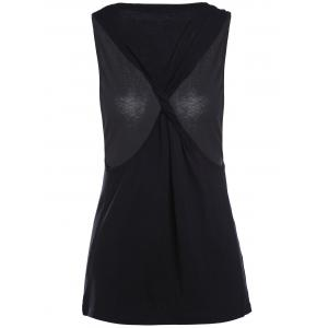 Chic V-Neck Cut Out Solid Color Women's Tank Top - BLACK S