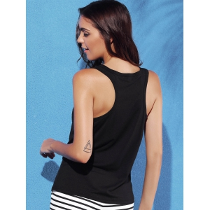 Racerback Letter Graphic Tank Top -