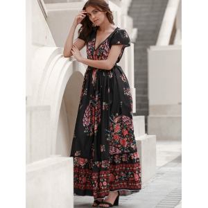 Short Sleeve Floral Boho Maxi Swing Dress - BLACK M