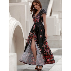 Short Sleeve Floral Boho Maxi Swing Dress - BLACK S