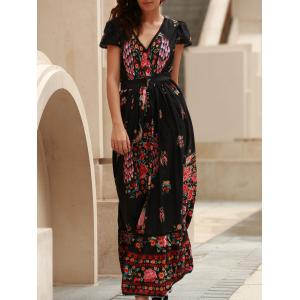 Short Sleeve Floral Boho Maxi Swing Dress - Black - L