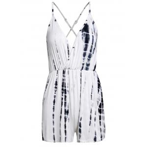 Stylish Printed Spaghetti Strap Criss Cross Romper For Women - WHITE AND BLACK M