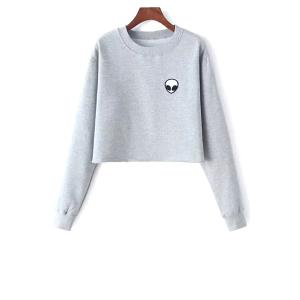 Alien Embroidery Cropped Sweatshirt