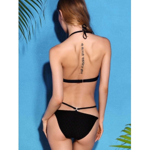 Fashionable Halter Neck Black Backless   Bikini Set For Women -