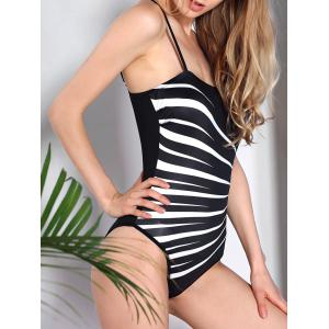 Simple Spaghetti Strap Stripe Swimsuit For Women