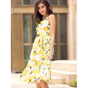 Square Neck Lemon Print Hawaiian Midi Dress - YELLOW S