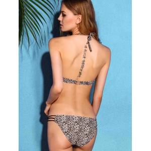 Charming Halter Neck Backless Leopard Print   Underwire Bikini Set For Women -