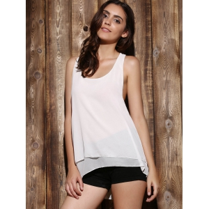 Sexy Scoop Neck Eiffel Design Back Women's Tank Top - WHITE S