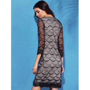 Graceful Fish Scale Hollow Out 3/4 Sleeve Dress For Women -