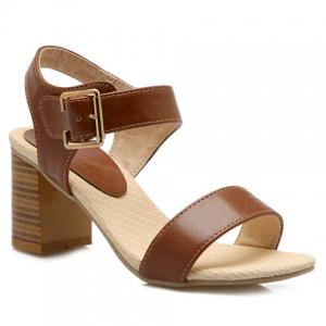 Trendy Chunky Heel and Solid Color Design Sandals For Women - Brown - 39